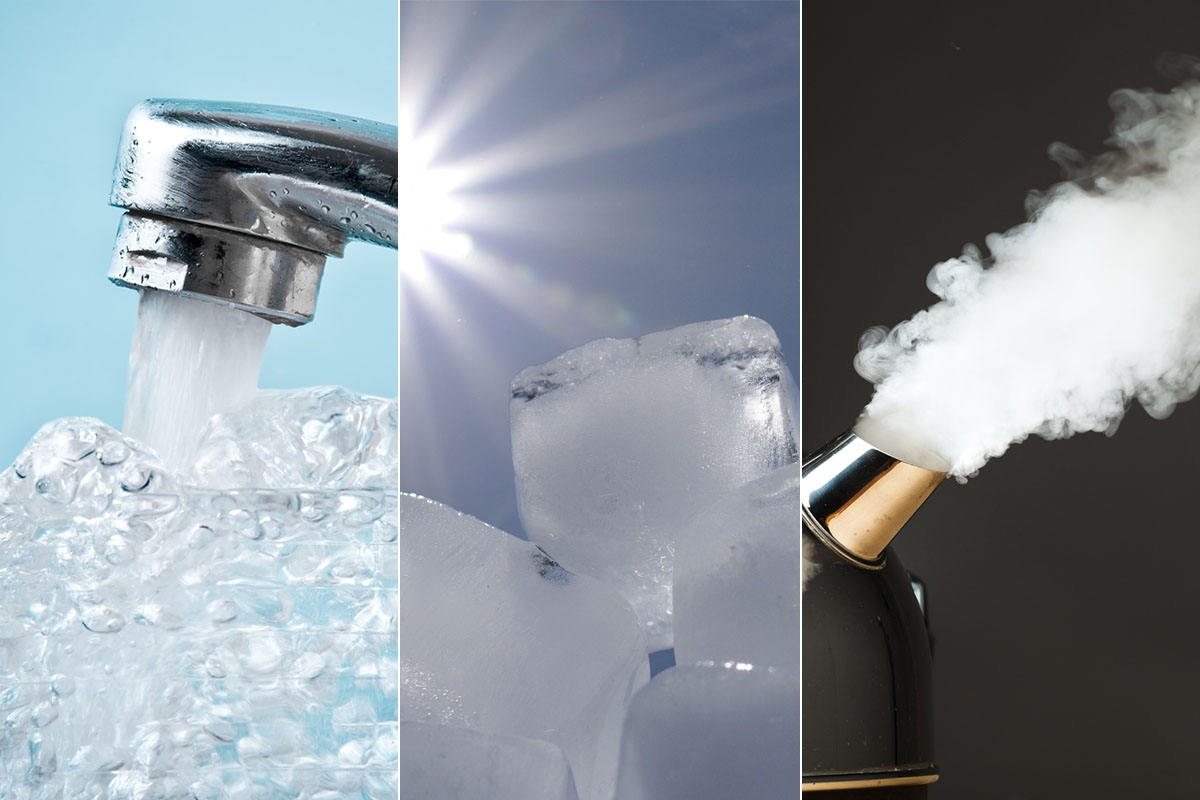 Les 3 états de l'eau - liquide, solide et gazeux