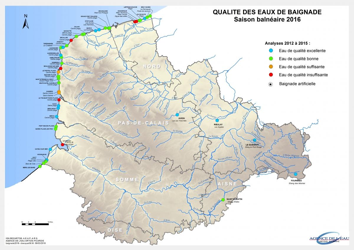 Carte qualité des eaux de baignade 2016