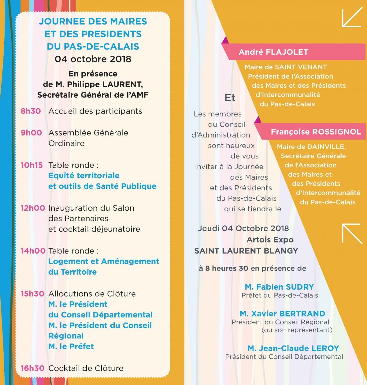 Programme journée des Maires et des Présidents du Pas-de-Calais